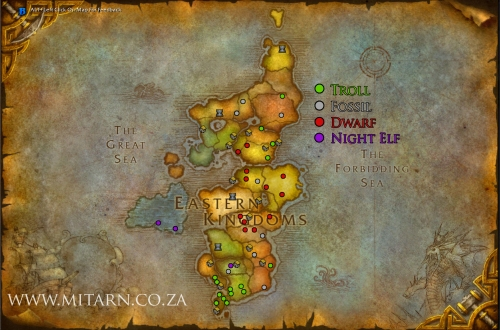 Eastern Kingdoms Cataclysm Archaeology Map