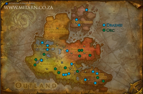 Outland Archaeology Map